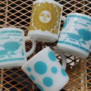 Vintage Milk Glass Coffee Mugs